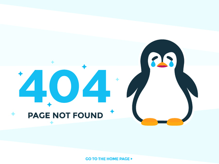404 page not found vector template with crying pinguin