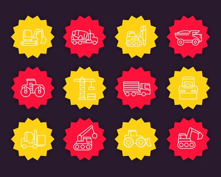 Construction vehicles line icons set, heavy machines, engineering equipment, crane, trucks, excavator, borer, loader.
