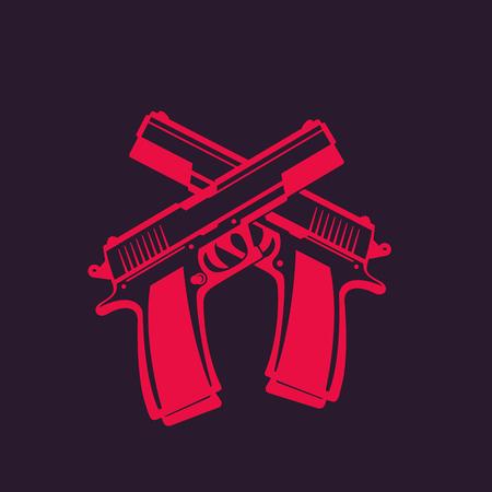 semi-automatic pistols, two crossed handguns