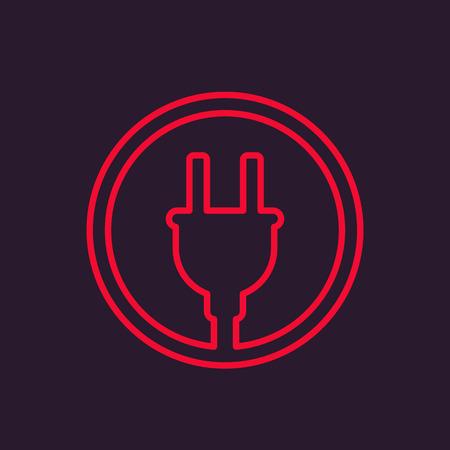 electric plug linear icon Illustration