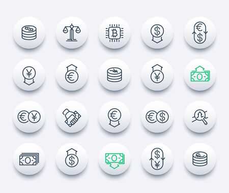 Currency, forex trading, finance line icons set