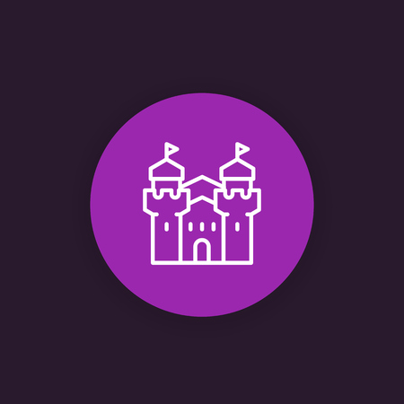 Castle, fortress icon in linear style