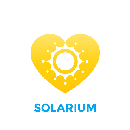 Solarium logo with sun and heart. Illustration
