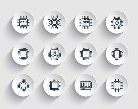 Chipsets line icons, cpu, microchip, processor, microcircuit Illustration