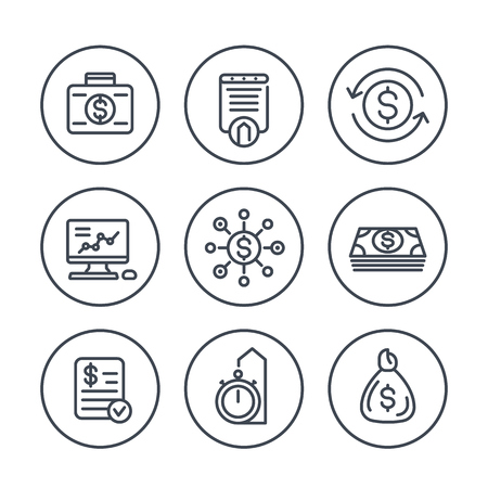 finance, investments, financial management, investment analysis line icons on white