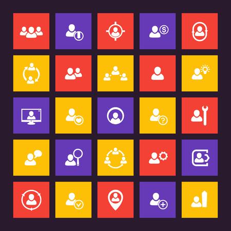 Human resources icons set, HR, personnel management 일러스트