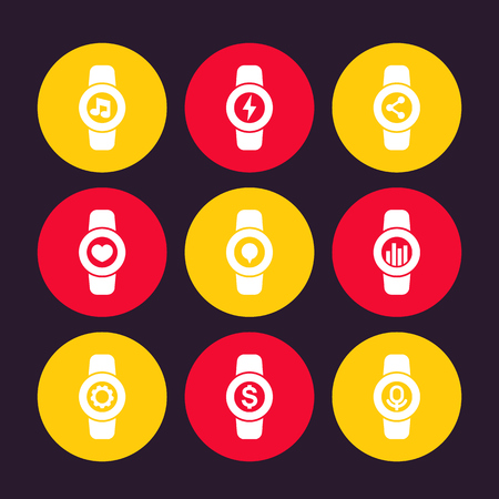 Smart watch icons, settings, charge, music, fitness app, voice recognition, message