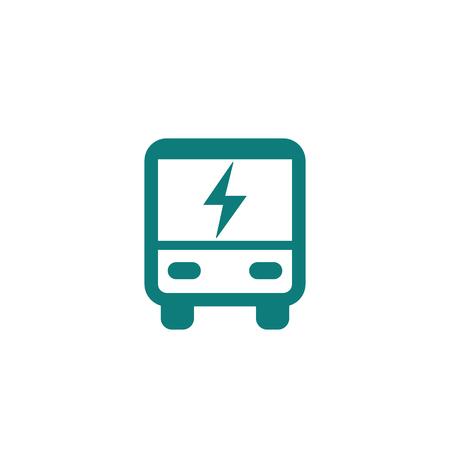electric bus icon on white