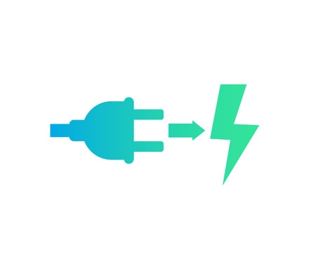 Electric plug, green electricity icon on white background.