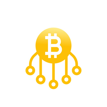 Bitcoin vector icon on white background.