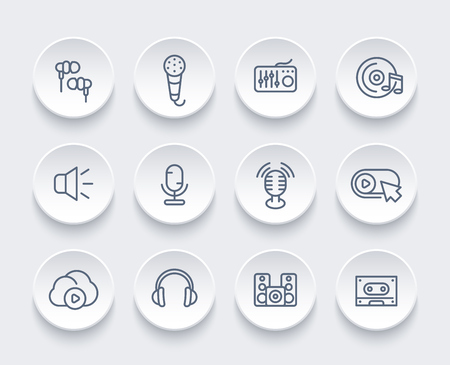 Audio icons set, linear style.