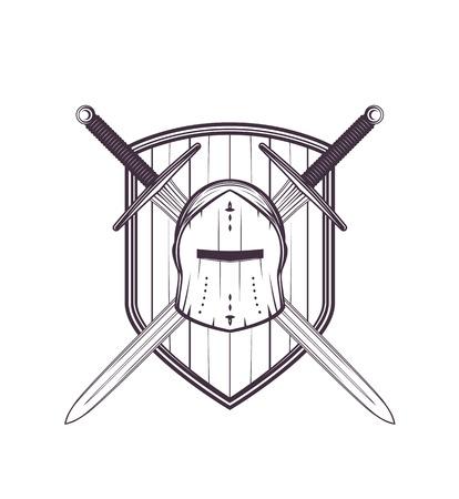 Medieval helmet, swords and shield vector illustration.