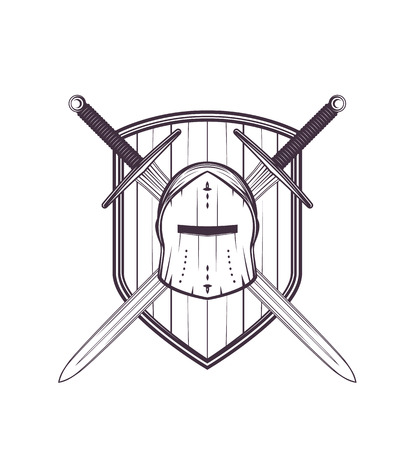 Medieval helmet, swords and shield vector illustration.