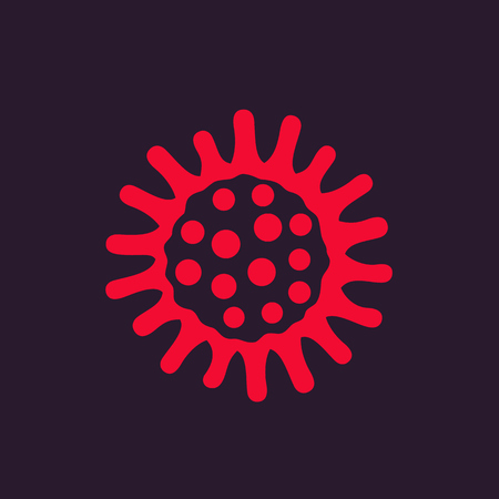 Red bacteria vector icon.