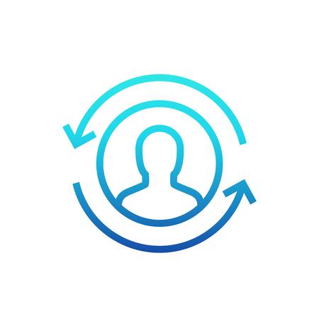 Returning customer icon, line pictogram vector illustration. 矢量图像