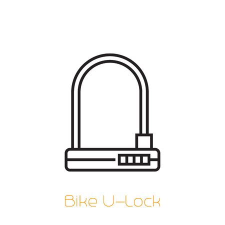 Bike U-Lock vector line icon on white Illustration