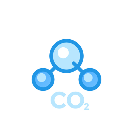 Co2 molecule, carbon dioxide icon isolated on white background.