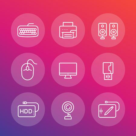 Conjunto de iconos de periféricos de computadora, pantalla, cámara web, impresora, mouse, teclado, altavoces, tableta gráfica en estilo lineal Ilustración de vector