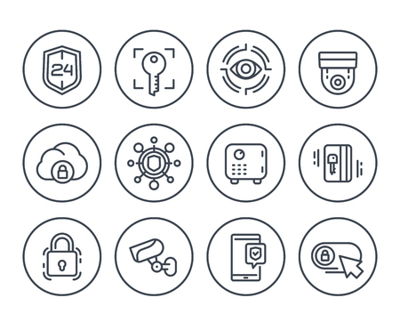 Security line icons on white background, video surveillance, bio-metric screening, secure server, strongbox.