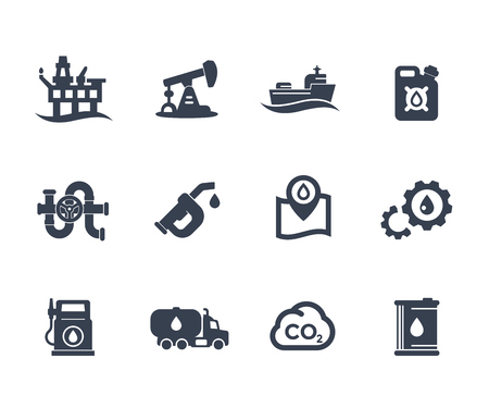 Petroleum industry icons on white, gas station, petrol canister, gasoline nozzle, barrel, oil production platform, rig, derrick, tanker ship