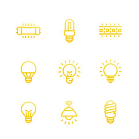 lighting, light bulbs, illumination line icons set, fluorescent, halogen lamps and led strip on white