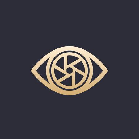 Eye with aperture icon template. Ilustração