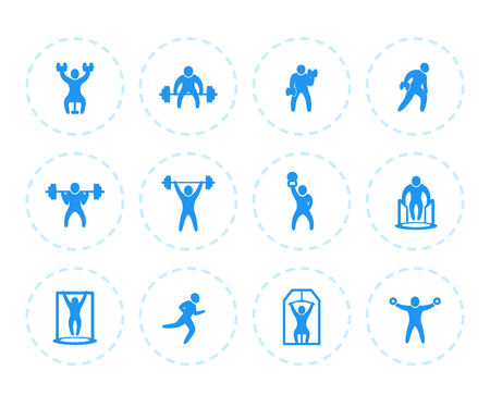 Gym, fitness exercises icons on white, workout, training, weightlifting vector pictograms