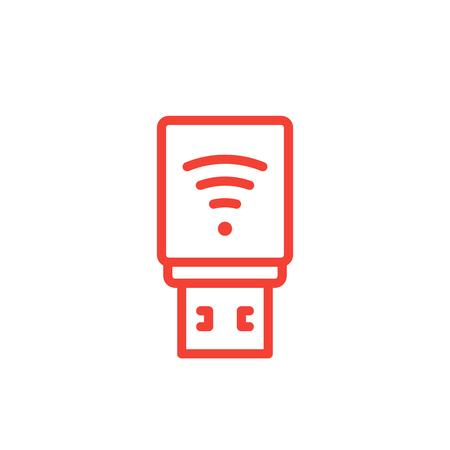 USB modem icon, 3g, 4g, lte modem line pictogram.