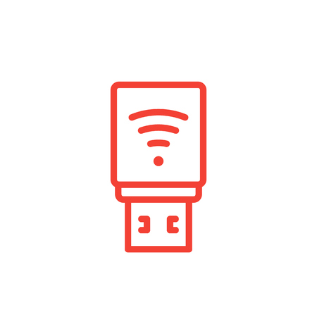 USB modem icon, 3g, 4g, lte modem line pictogram.