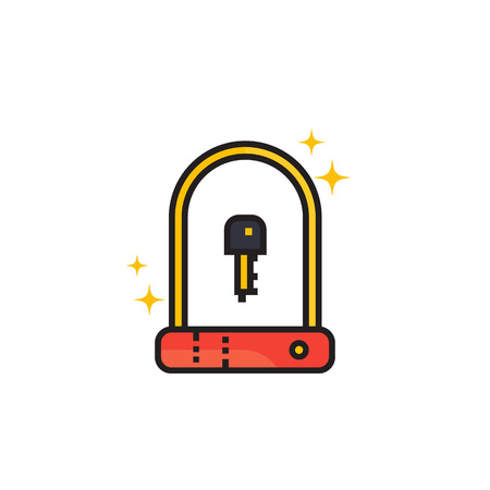 Bike u-lock icon on white background. Illustration