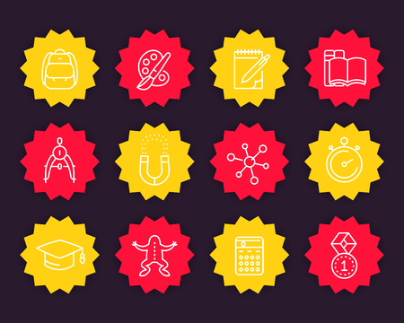 School, education, classes icons in linear style 向量圖像
