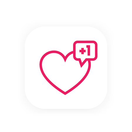 heart like with notification for web design, linear icon