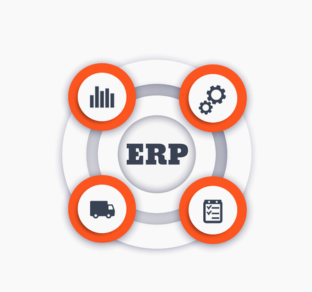 ERP vector infographics isolated on plain background.
