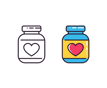 A bottle of pills icons on white isolated on plain background.