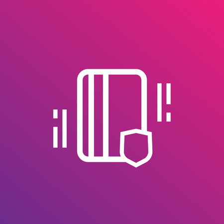 An electronic pass, card key linear icon isolated on pink background.