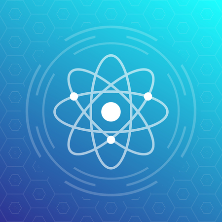 An atom icon, vector sign isolated on blue background.