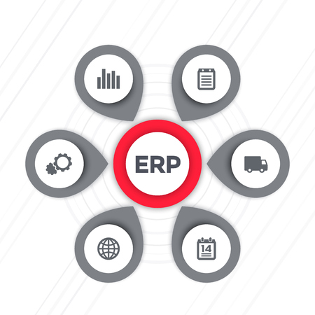 ERP software icons isolated on plain background.
