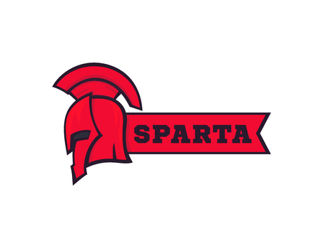 A spartan helmet with ribbon, logo elements on white