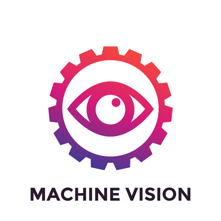 A Machine vision icon, computer visual recognition system Illustration
