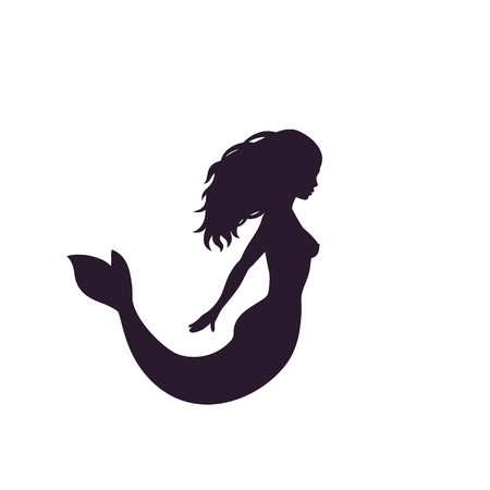 A mermaid silhouette isolated on white, vector illustration