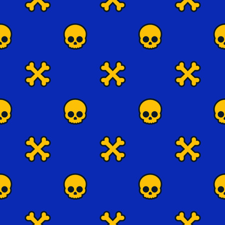 A pattern with skulls and bones, halloween background