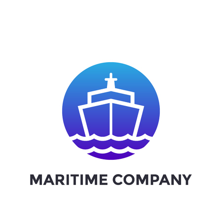 Ship, maritime industry vector logo on white