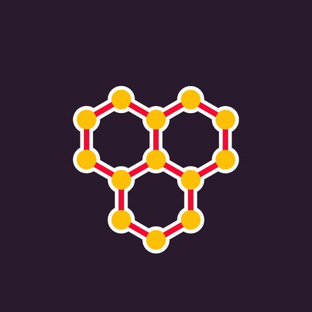 A graphene vector icon, atomic carbon structure