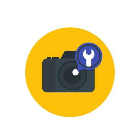 A camera repair service vector illustration isolated on plain background. Illustration