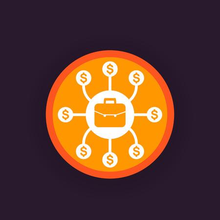 A portfolio diversification vector icon isolated on plain background. Stock Illustratie