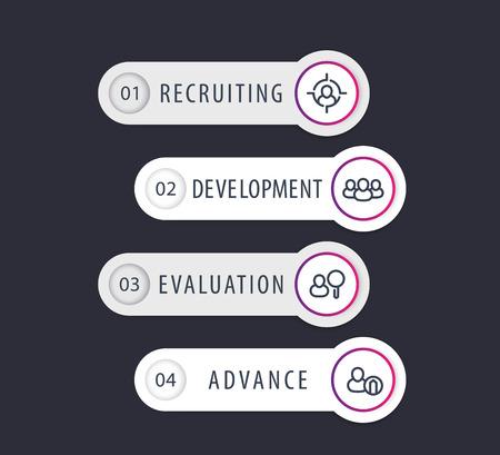 Staff, HR, employee development 1, 2, 3, 4 steps, infographics elements Illustration