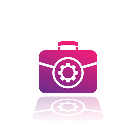A portfolio icon with gear isolated on plain background. Illustration