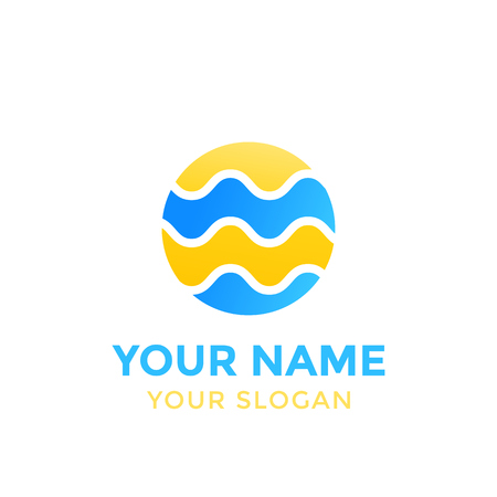 A round vector logo with waves on white