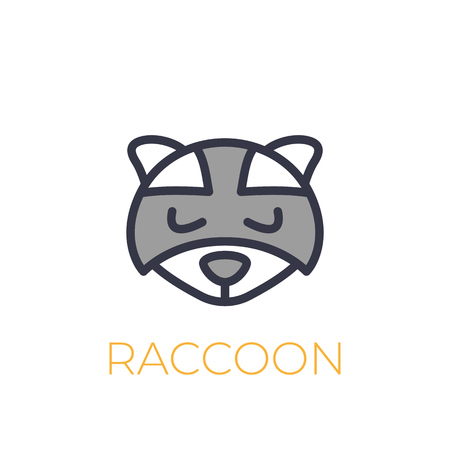 A raccoon vector logo, simple icon on white