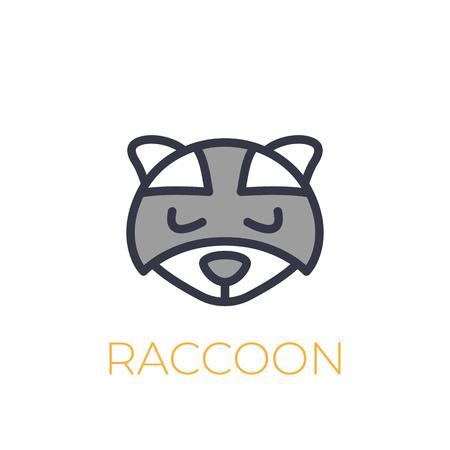 A raccoon vector logo, simple icon on white